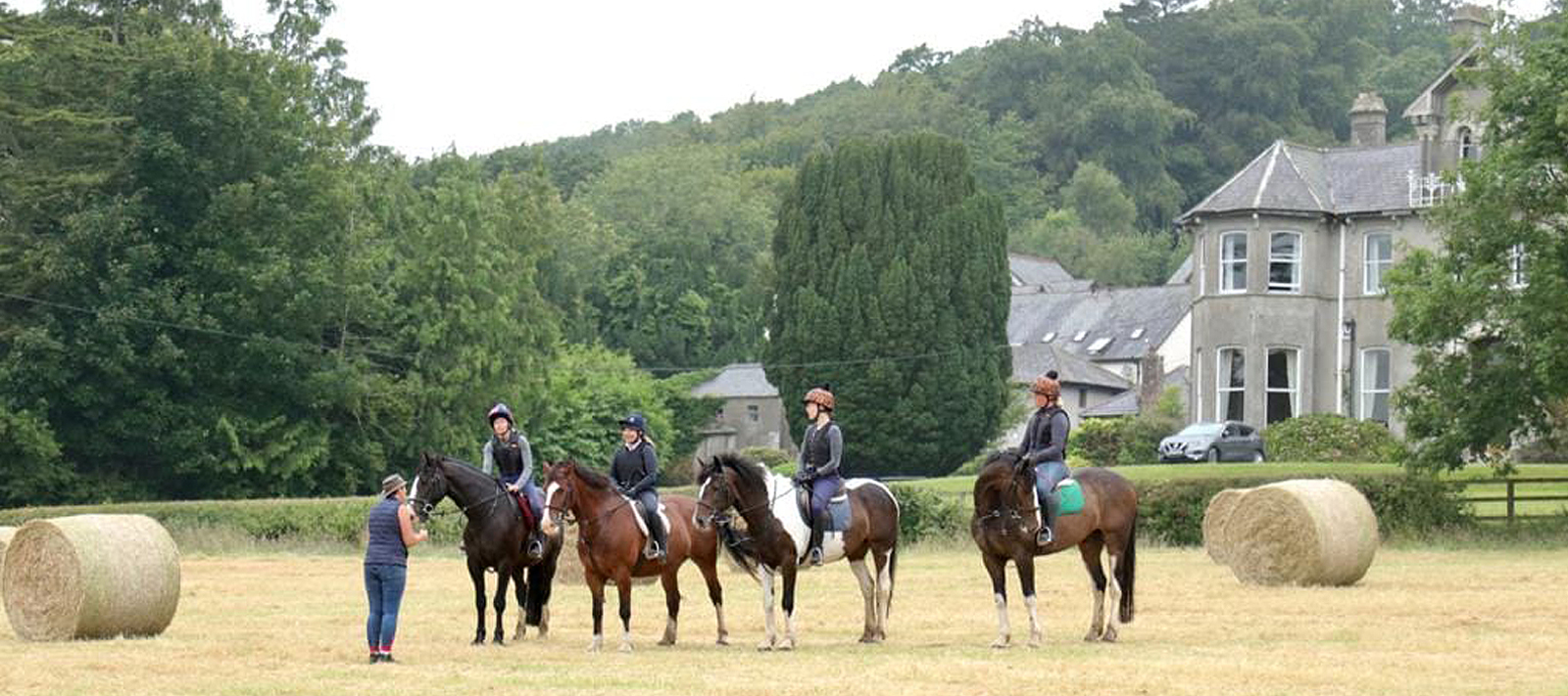 A horse riding lesson in front of Bel-Air Hotel Co. Wicklow Ireland