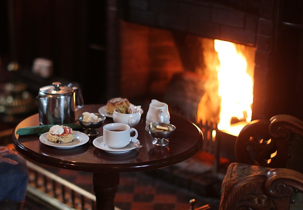 Country Getaway - Tea and scones in front of the fire at Bel-Air Hotel in Ashford