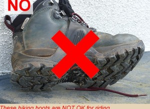 These hiking boots are NOT OK for riding - the sole grip is too rough