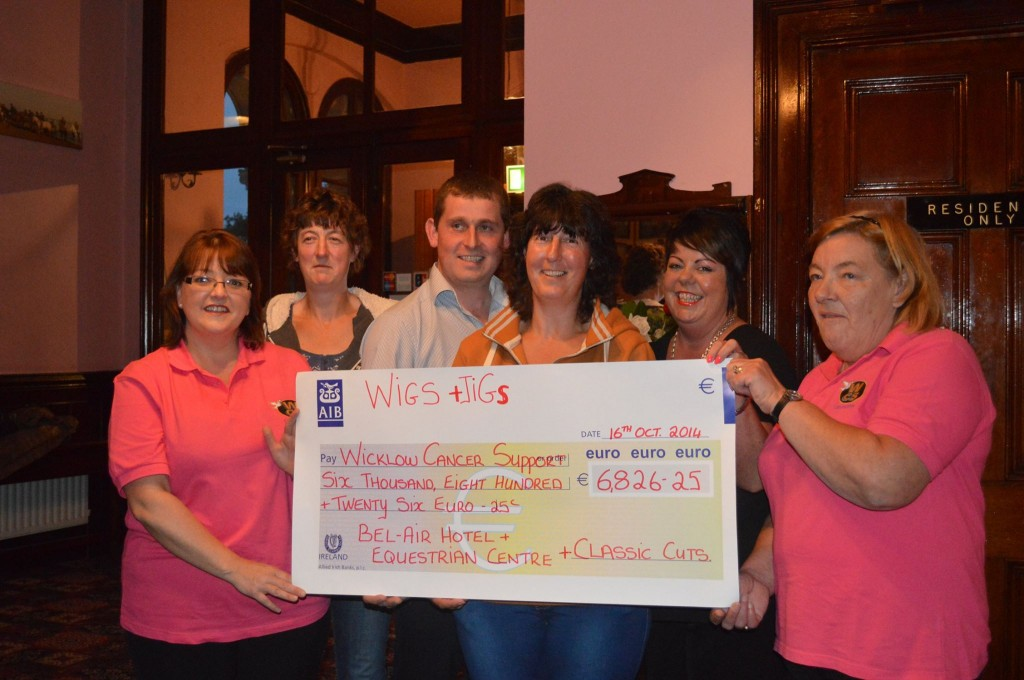 Classic Cuts in Ashford and Bel-Air Hotel and Equestrian Centre present the cheque to Wicklow Cancer Support