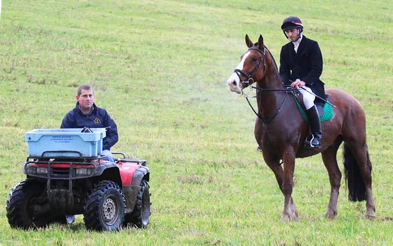 William and Jessie minding the mock hunt at Bel-Air Hotel and Equestrian Centre Ireland